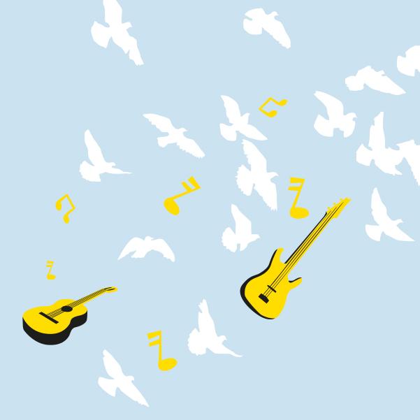 Das Festival PxP wird mit Tauben und Gitarren symbolisiert